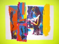 Woman in Yellow - Original Screen Print by Nicola Simbari - 1976