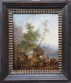 The Goat Herd - Dutch 18thC art Old Master pastoral landscape oil painting