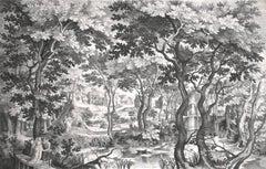 Landscape with Pair on Wooden Bridge