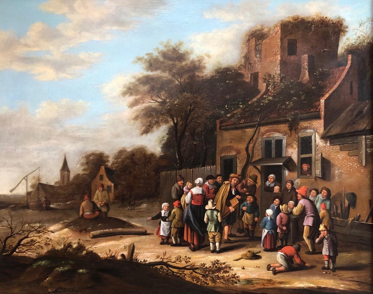 Oil painting Circle of Nicolaes Molenaer (Dutch 1630-1676) Village scene. - Old Masters Painting by Nicolaes Molenaer