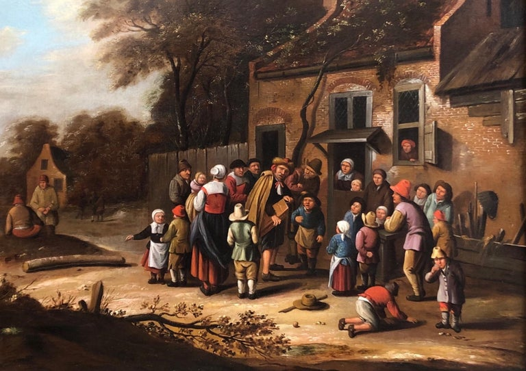 Oil painting Circle of Nicolaes Molenaer (Dutch 1630-1676) Village scene. - Black Figurative Painting by Nicolaes Molenaer