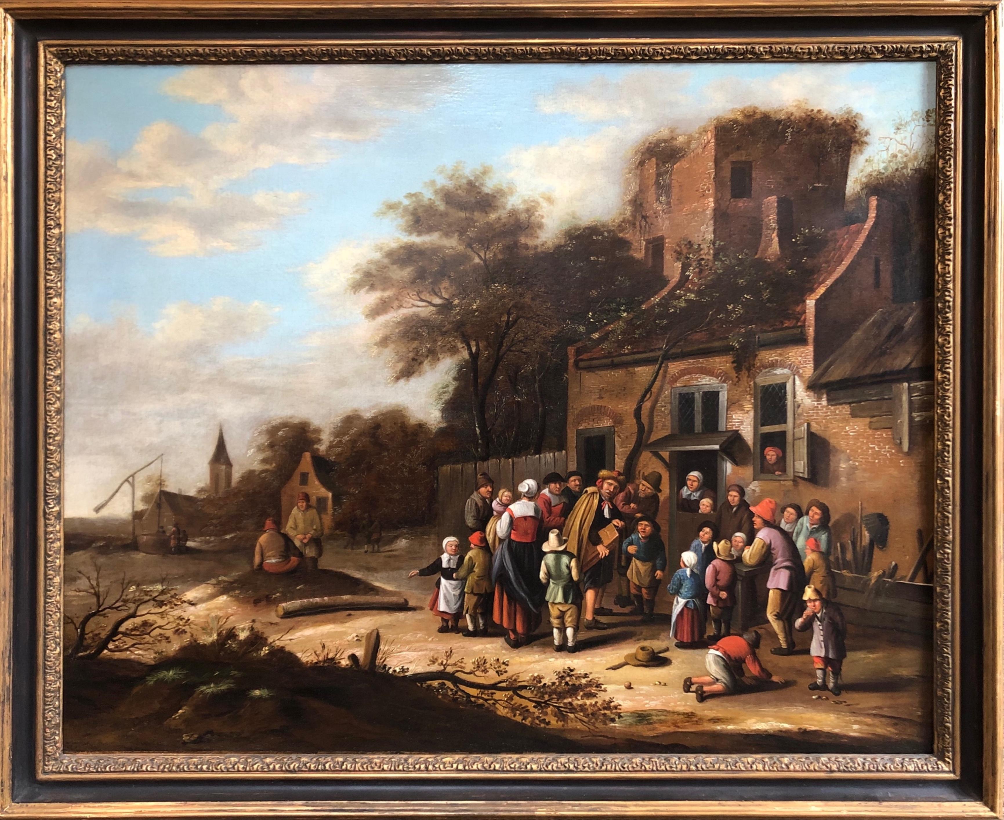 Oil painting Circle of Nicolaes Molenaer (Dutch 1630-1676) Village scene.