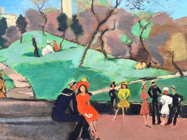 """Bethesda Fountain, Central Park"" - Painting by Nicolai Cikovsky"