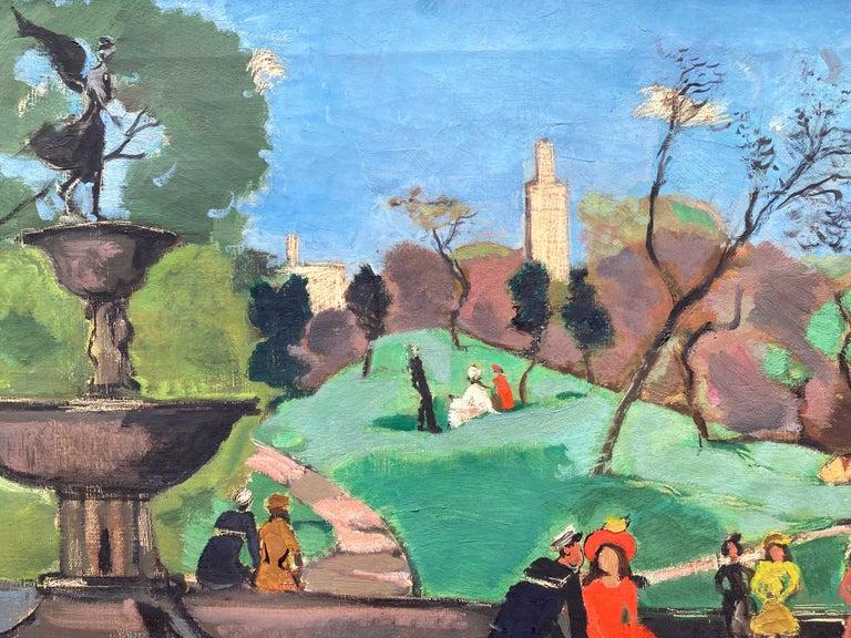 """Bethesda Fountain, Central Park"" - Post-Modern Painting by Nicolai Cikovsky"