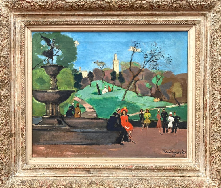 Oil on canvas painting of the iconic Bethesda Fountain in New York's Central Park by the American painter Nicolai Cikovsky. Signed lower right and dated 1946.  Several sailors and strollers mill around the fountain on a beautiful sunlit day shortly