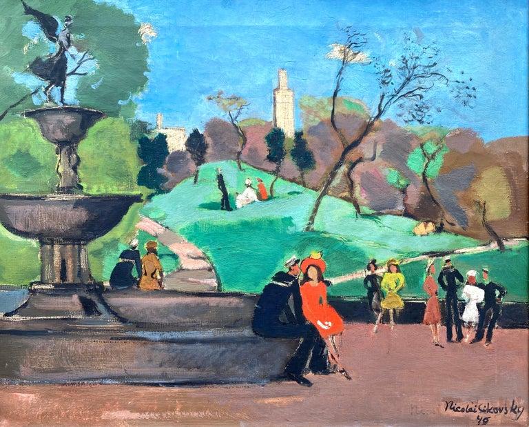 "Nicolai Cikovsky Figurative Painting - ""Bethesda Fountain, Central Park"""