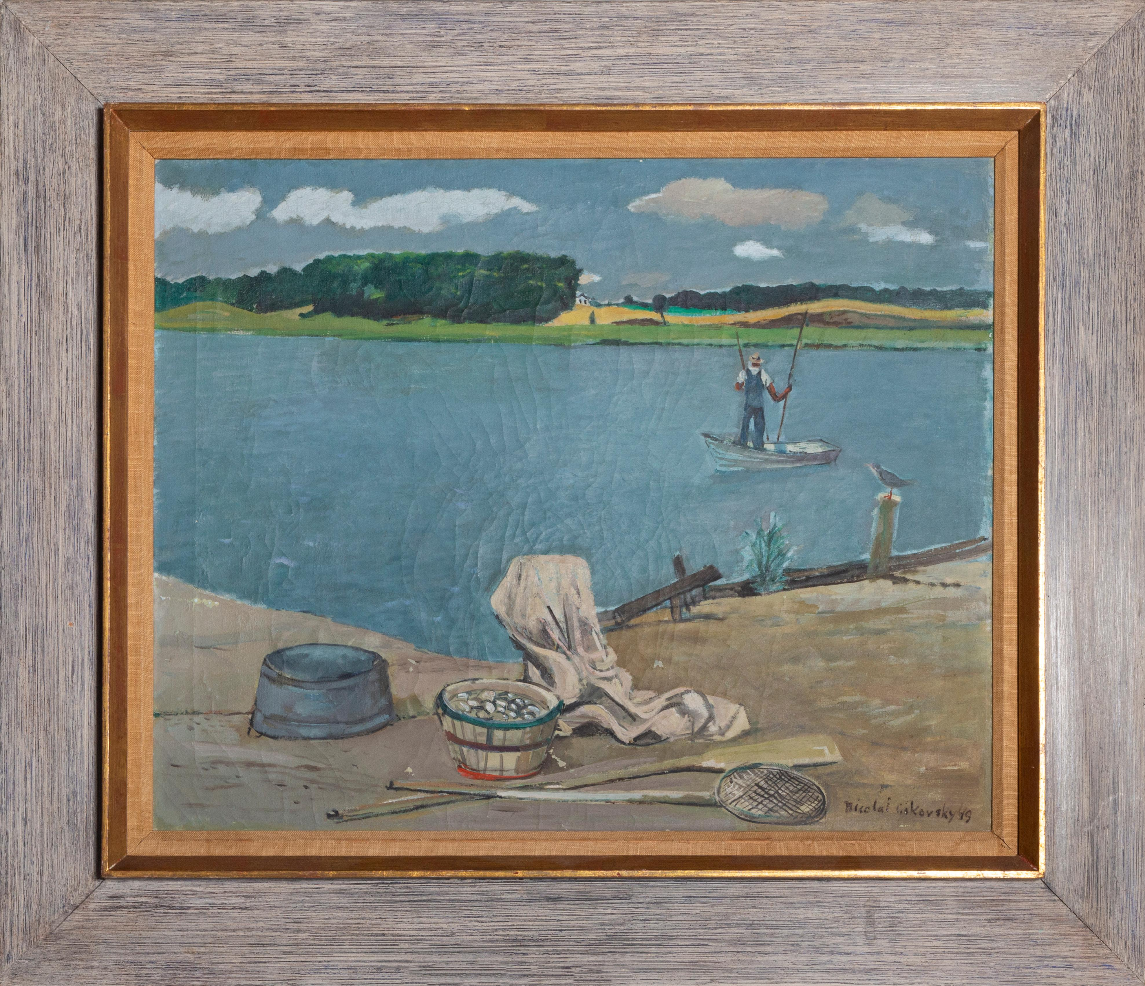 Fisherman on the River, Painting by Nicolai Cikovsky