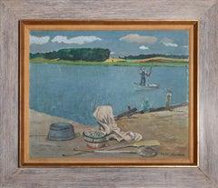 Fisherman on the River, Painting by Nicolai Cikovsky