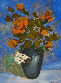 Modernist Floral Oil Painting Roses, Flowers in Vase WPA Artist Nicolai Cikovsky