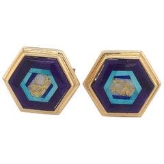 Nicolai Medvedev Geometric Gemstone Intarsia 18 Karat Gold Cufflinks
