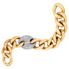 Nicolas Cola 18 Karat Yellow White Gold Diamond Large Link Bracelet