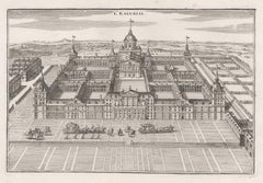 L'Escurial, architectural engraving view of the Escorial, Madrid, Spain, 1705
