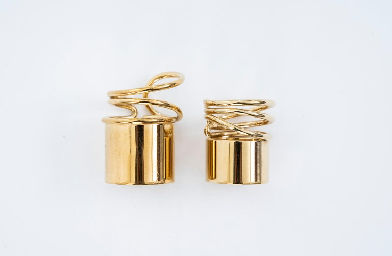 Nicolas Ghesquière for Balenciaga, Runway Spring-Summer 2013 a pair of gold tone brass coil rings designed by Charlotte Chesnais.   Size: 6.5 Size: 8