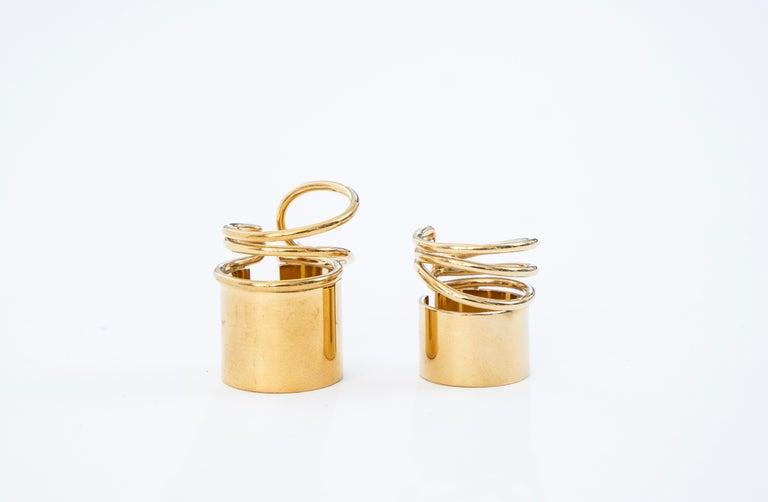 Modern Nicolas Ghesquière for Balenciaga Runway Pair of Brass Coil Rings, Spring 2013 For Sale