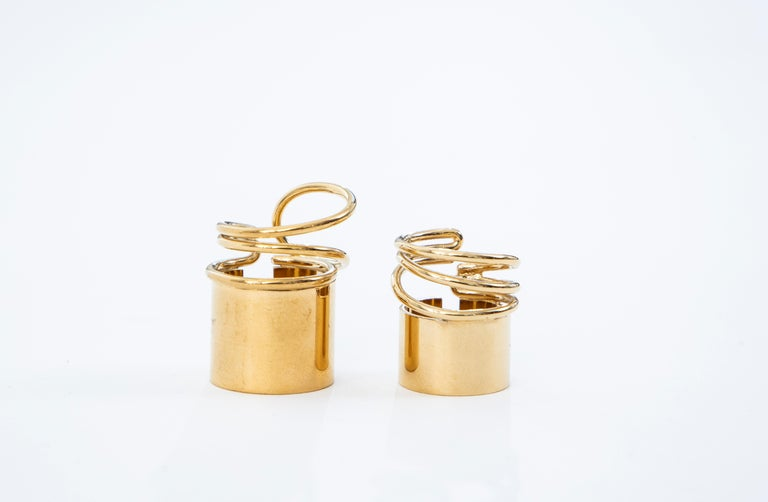 Nicolas Ghesquière for Balenciaga Runway Pair of Brass Coil Rings, Spring 2013 In Excellent Condition For Sale In Cincinnati, OH