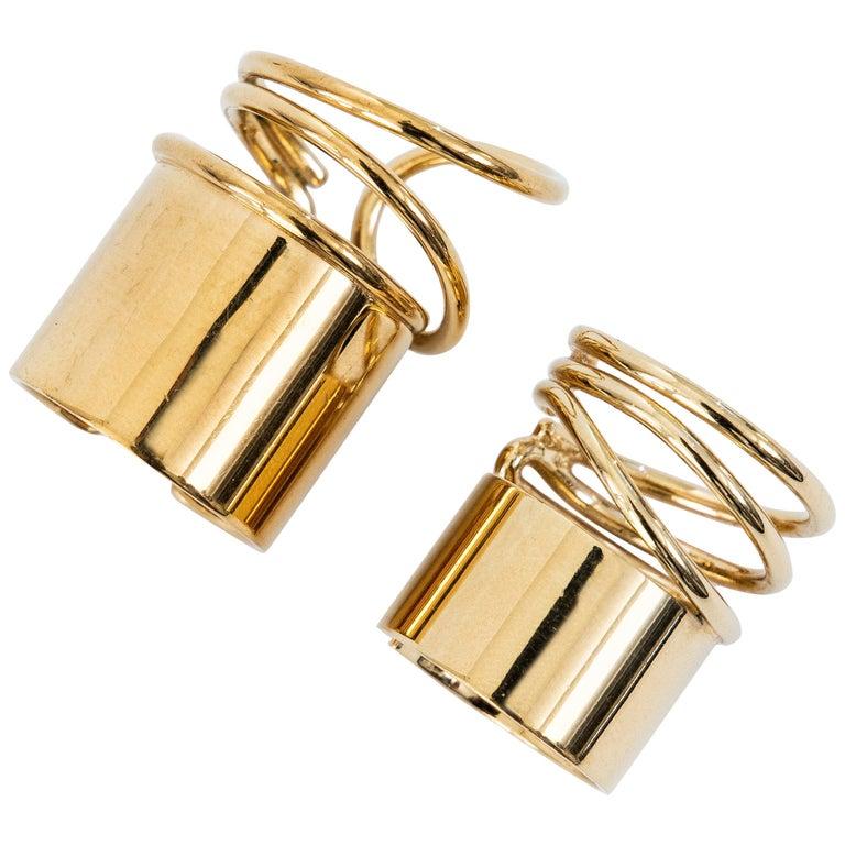 Nicolas Ghesquière for Balenciaga Runway Pair of Brass Coil Rings, Spring 2013 For Sale