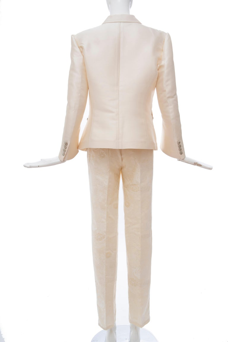 Nicolas Ghesquière for Balenciaga Runway Silk Jacquard Pant Suit, Spring 2006 For Sale 6