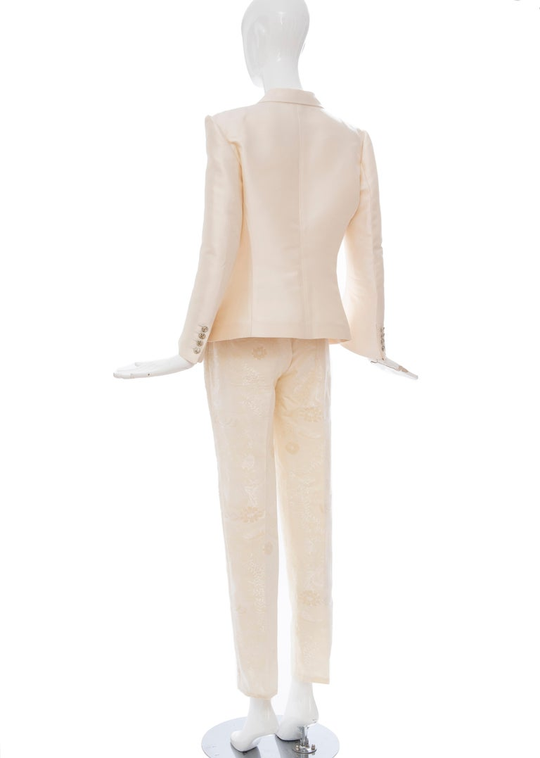 Nicolas Ghesquière for Balenciaga Runway Silk Jacquard Pant Suit, Spring 2006 For Sale 7