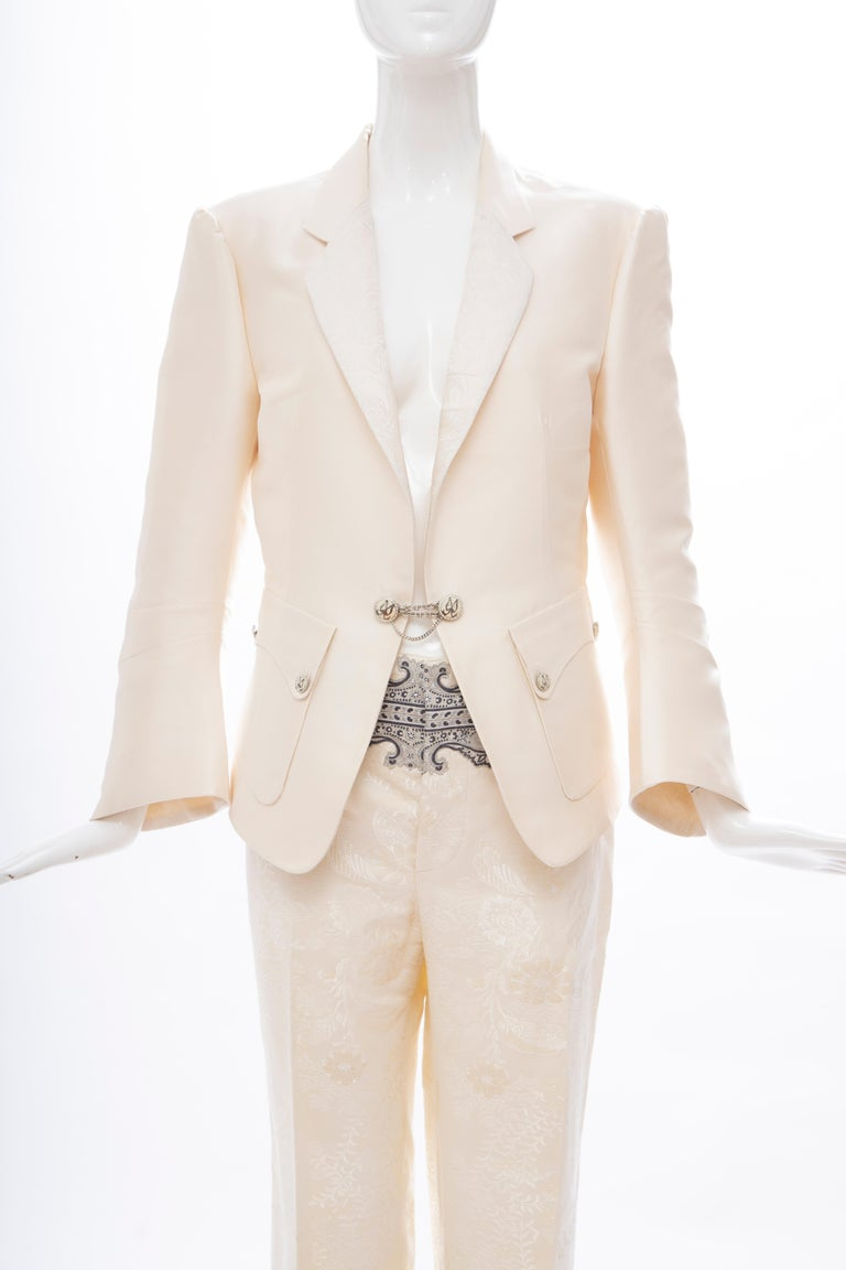 Beige Nicolas Ghesquière for Balenciaga Runway Silk Jacquard Pant Suit, Spring 2006 For Sale