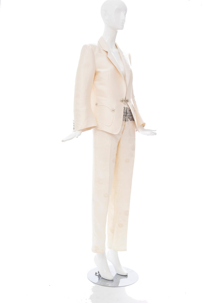 Nicolas Ghesquière for Balenciaga Runway Silk Jacquard Pant Suit, Spring 2006 In Excellent Condition For Sale In Cincinnati, OH