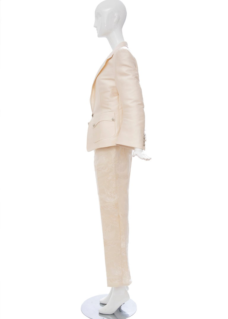 Nicolas Ghesquière for Balenciaga Runway Silk Jacquard Pant Suit, Spring 2006 For Sale 1