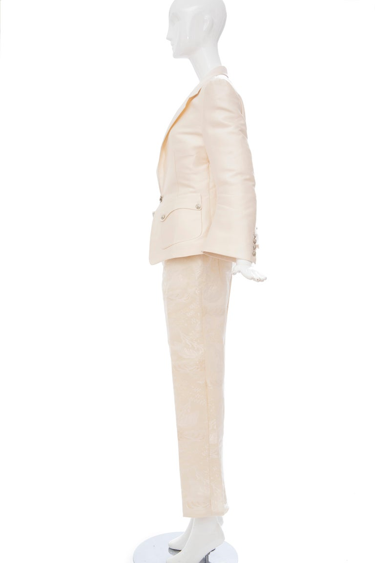 Nicolas Ghesquière for Balenciaga Runway Silk Jacquard Pant Suit, Spring 2006 For Sale 3