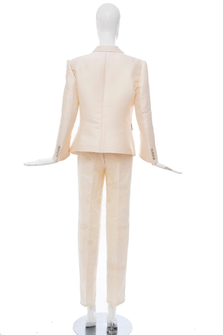 Nicolas Ghesquière for Balenciaga Runway Silk Jacquard Pant Suit, Spring 2006 For Sale 4
