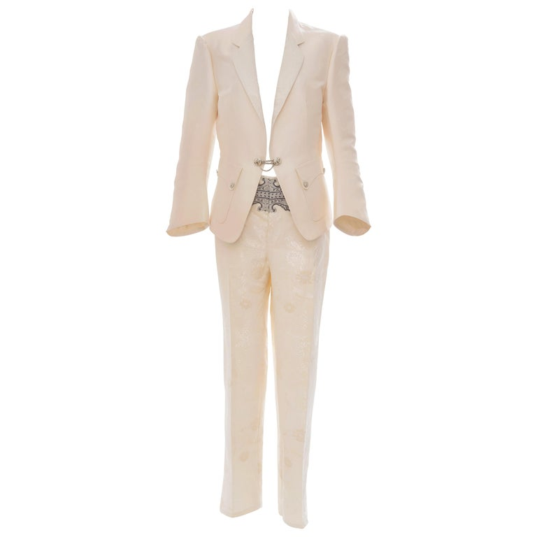 Nicolas Ghesquière for Balenciaga Runway Silk Jacquard Pant Suit, Spring 2006 For Sale