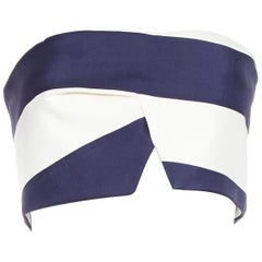 NICOLAS navy blue white strape irregular cut bandeau strapless top AU8 S