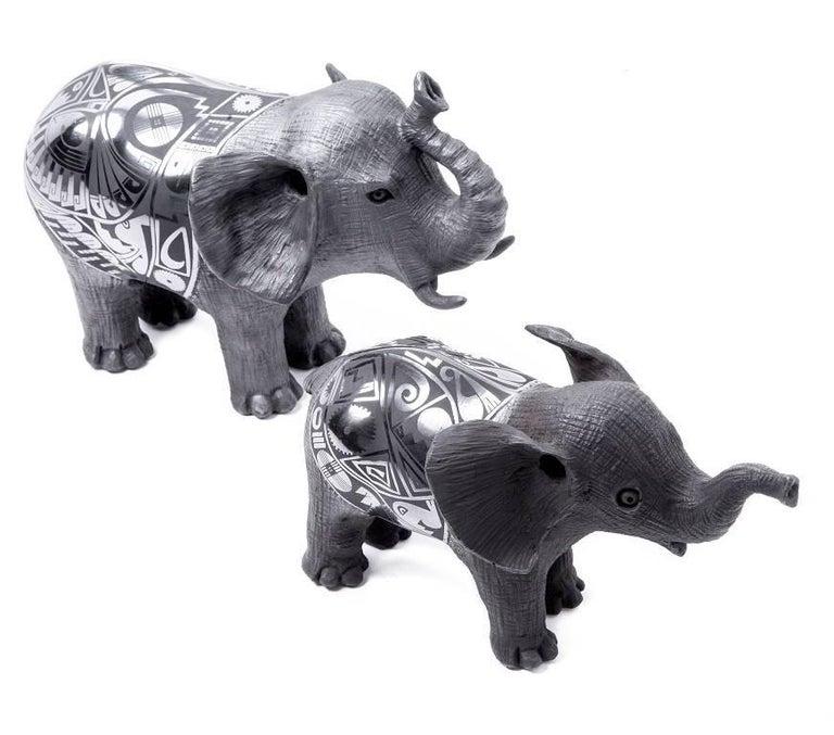 12'' Elefantes / Ceramics Mexican Folk Art Mata Ortiz For Sale 3
