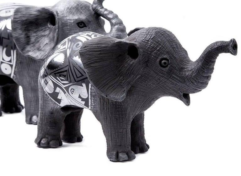 12'' Elefantes / Ceramics Mexican Folk Art Mata Ortiz For Sale 4