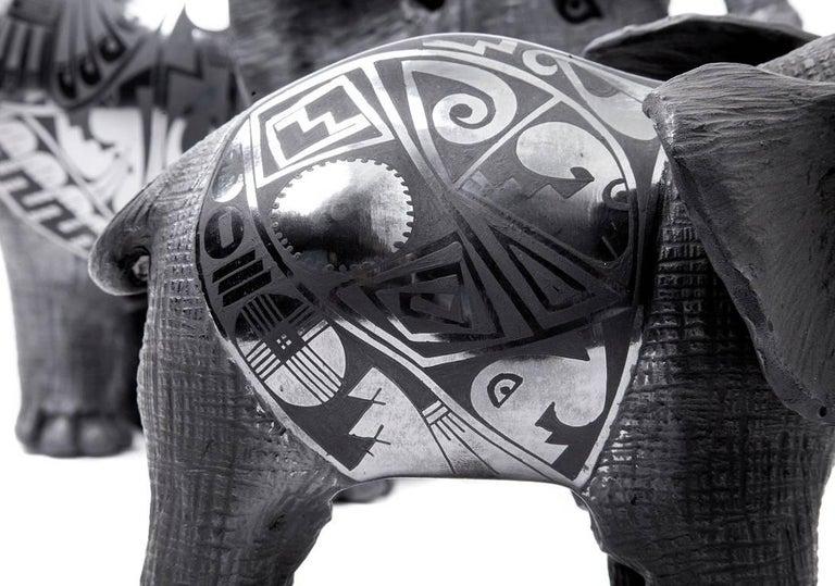 12'' Elefantes / Ceramics Mexican Folk Art Mata Ortiz For Sale 5