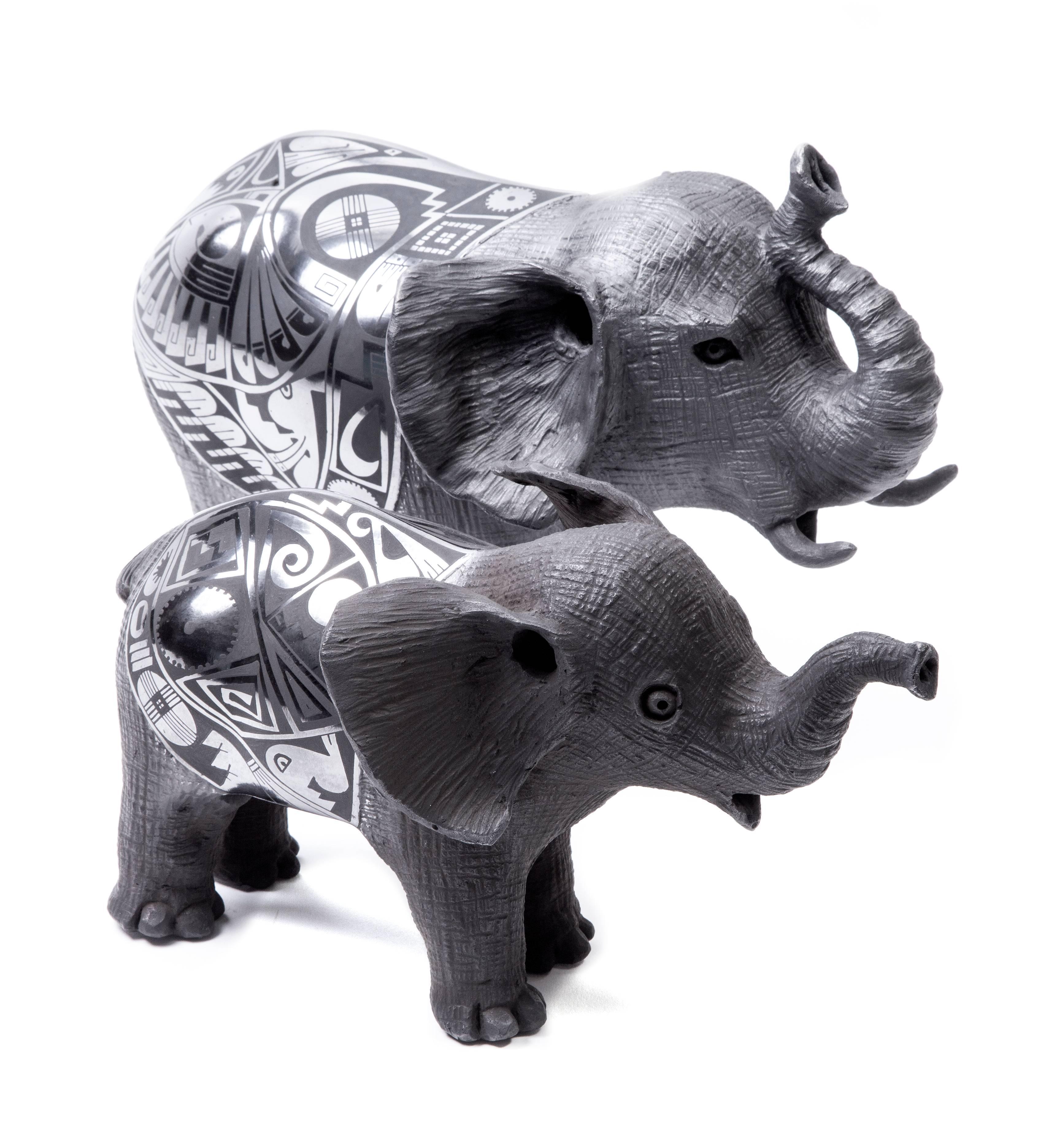 12'' Elefantes / Ceramics Mexican Folk Art Mata Ortiz