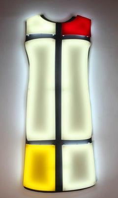 Nicolas Saint-Grégoire, Mondrian Dress 2, Wall mounted light box, Art Couture