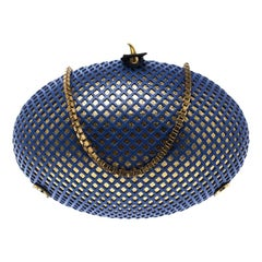 Nicolas Theil Blue and Metallic Gold Leather Mesh Egg Clutch