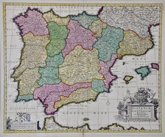 A Hand-colored 17th/18th Century Visscher Map of Spain and Portugal