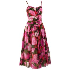 Nicole Bely Paris Vintage Boned Pink Cotton Floral Dress