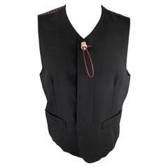 NICOLE CLUB FOR MEN Size M Black Crepe Buttoned Vest