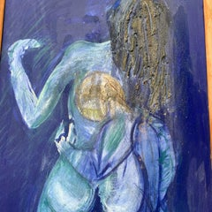 Erotism Blue Acrylic and Mixed media Love Painting