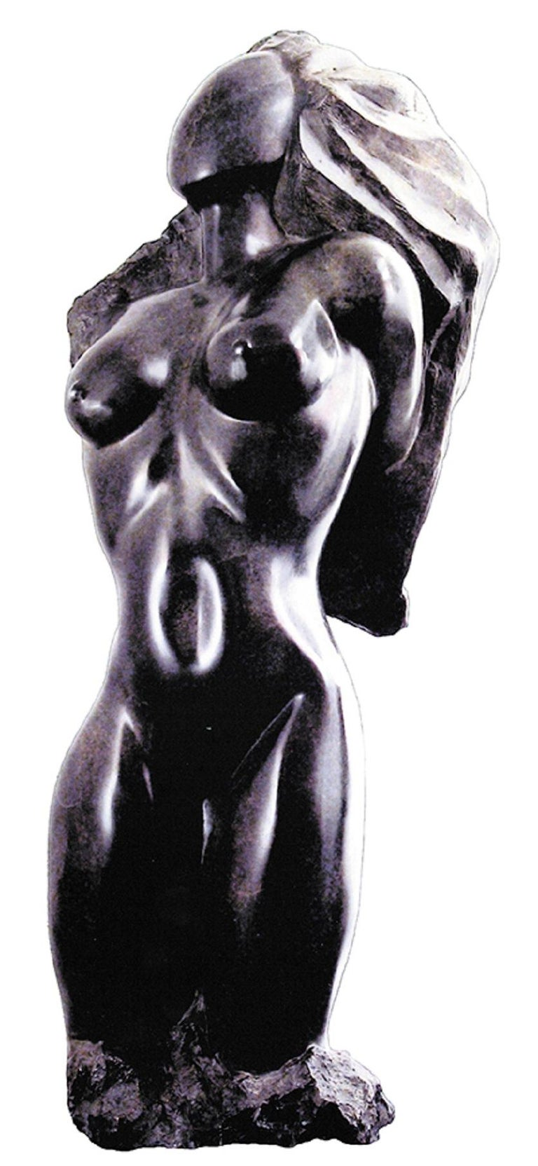 """Sculptor well known internationally, Nicole Durand says about this black alabaster, direct carving piece """"To simply be still and breathe is true Beauty"""" Only one in the world , all hand polished in the traditional Italian way This sculpture"""