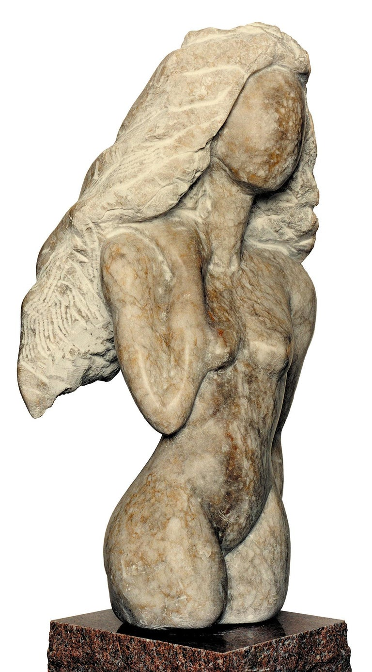 Femme, white Alabaster Sculpture from Nicole Durand - White Nude Sculpture by Nicole Durand