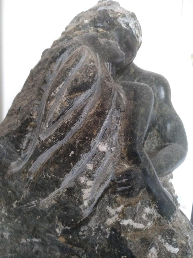 Fusion,21rst Century Impressionist dark green Alabaster Sculpture  - White Figurative Sculpture by Nicole Durand