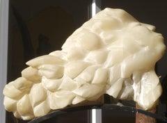 La Femme Poisson - 21st Century Impressionist White Alabaster Sculpture