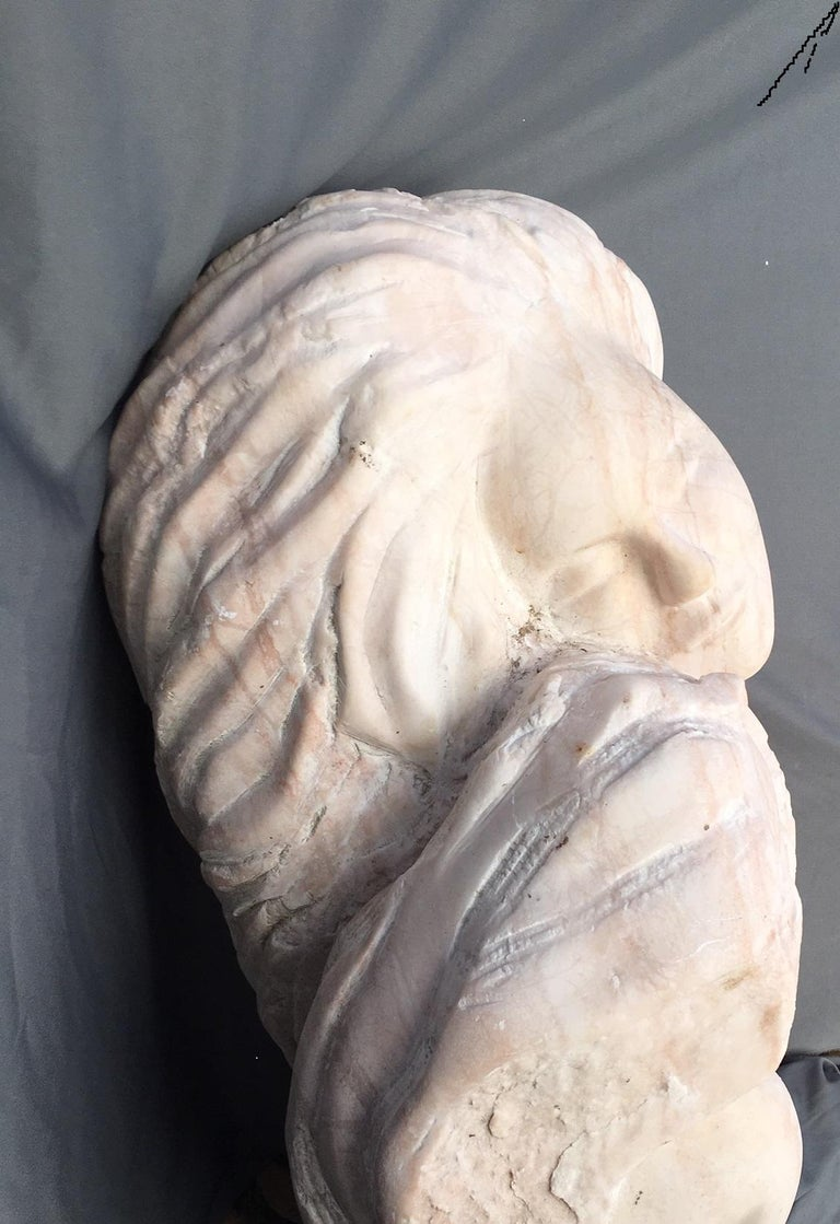 Pink Alabaster Sculpture , Unconditional Love - White Nude Sculpture by Nicole Durand