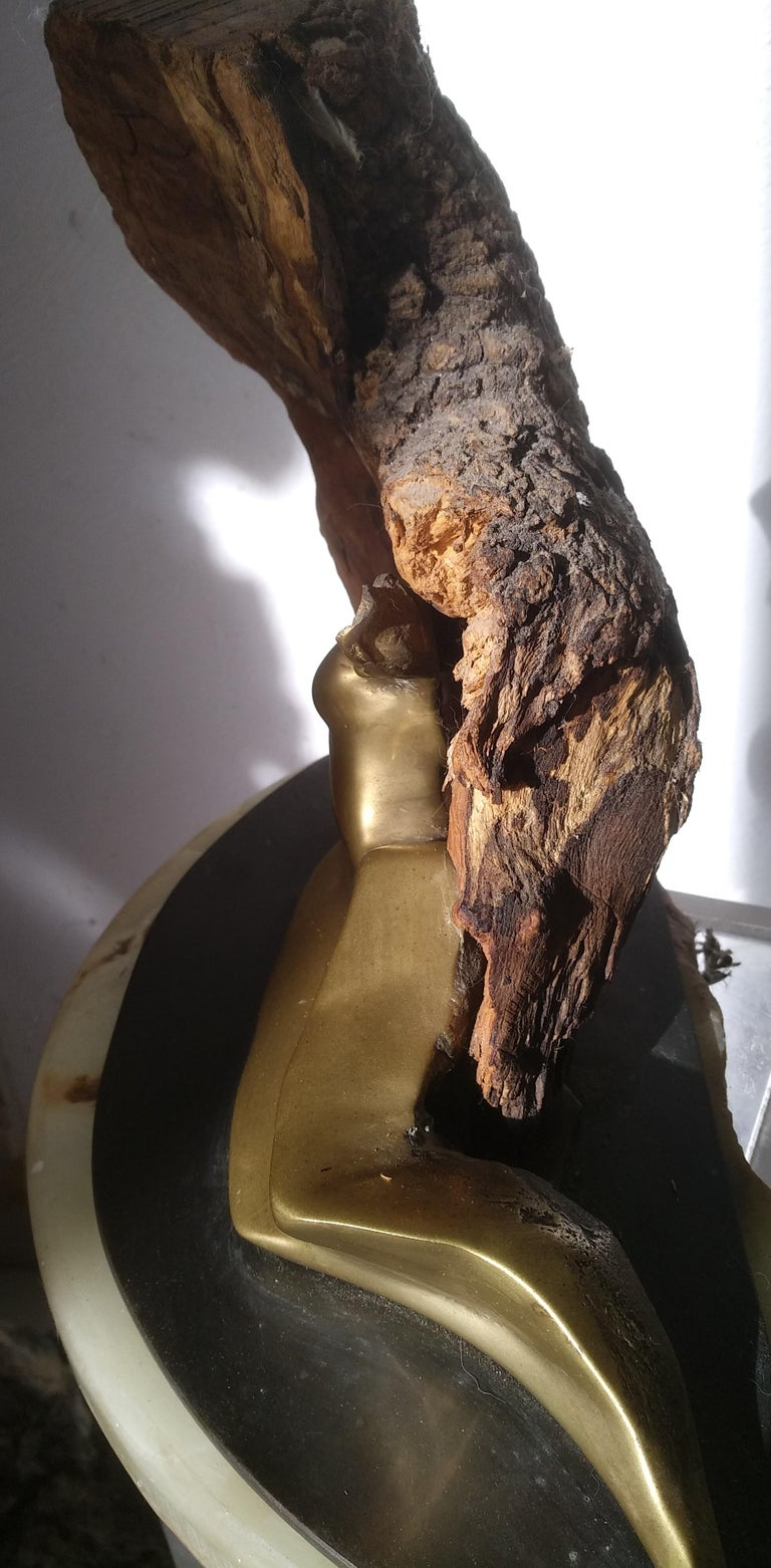 Protege- 21st Century Abstract Impressionist Wood Bronze Stone Sculpture   For Sale 1