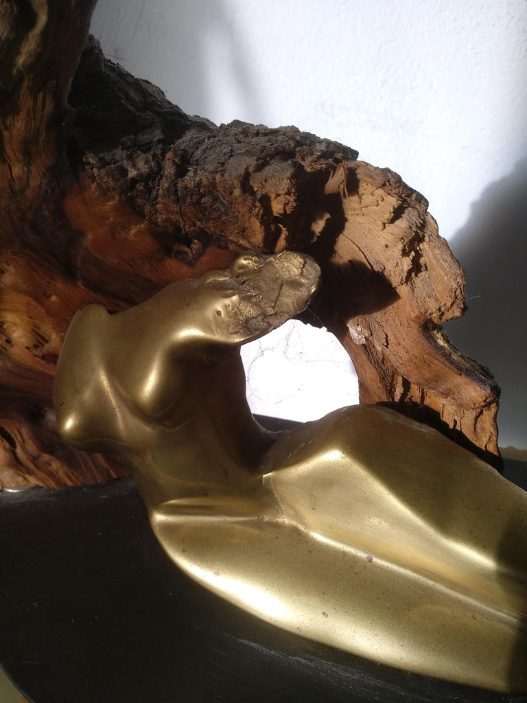 Protege- 21st Century Abstract Impressionist Wood Bronze Stone Sculpture   For Sale 2