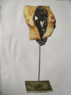 The Heart - 21st Century Contemporary Abstract Bronze Wood and Stone Sculpture