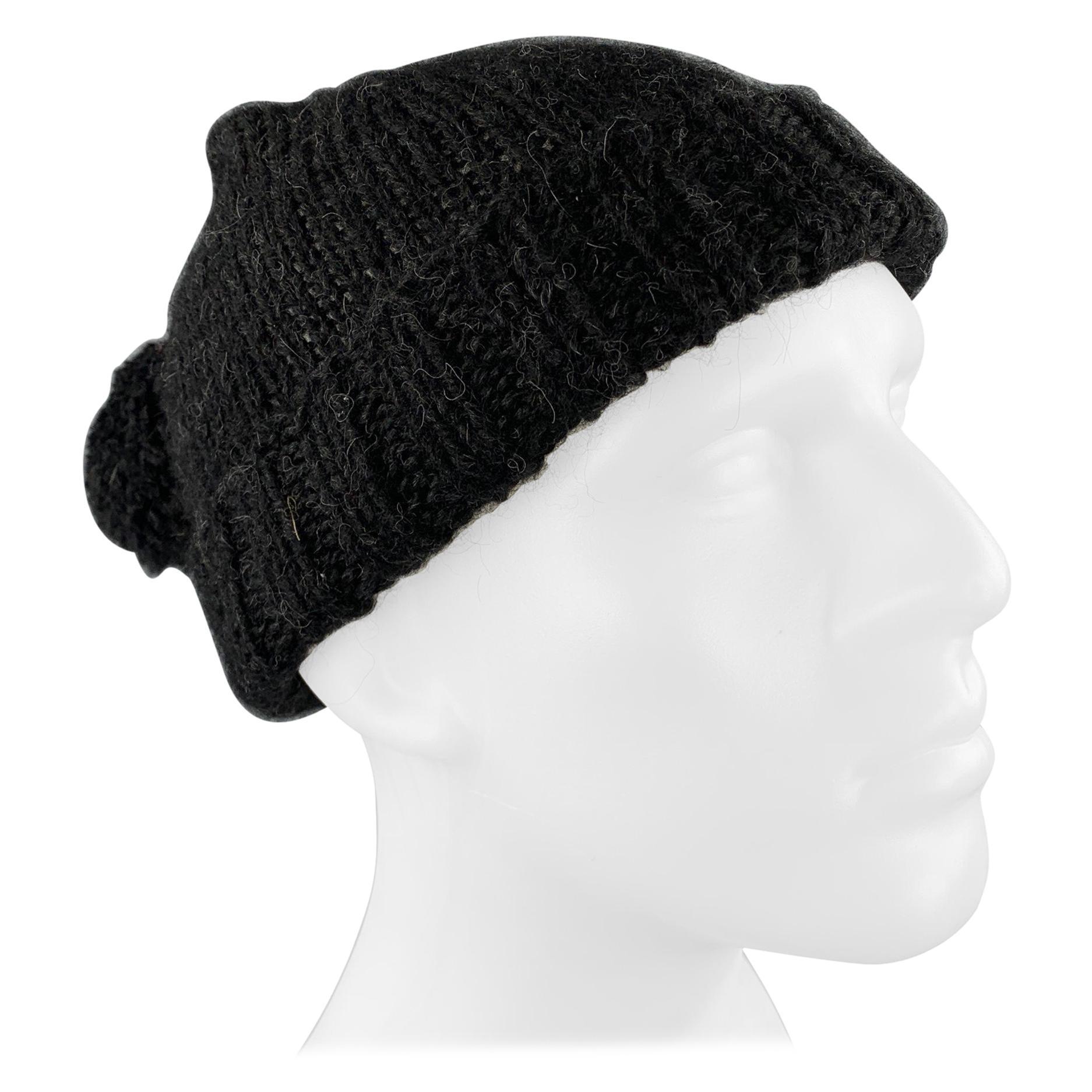 NICOLE FARHI Black Knitted Alpaca Beanie