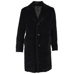 Nicole Farhi Men's Vintage Black Faux Fur Coat