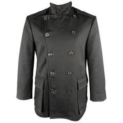 NICOLE FARHI Size 42 Black Wool / Cotton Shoulder Patch High Collar Double Breas